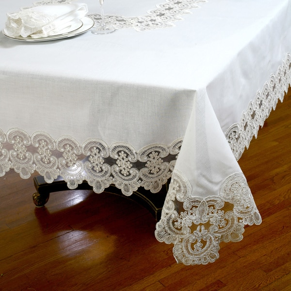 Shop No Iron Embroidered Lace Table Cloth Or Napkins Set