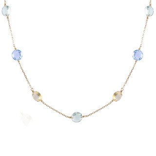 14k Yellow Gold Citrine, Blue Topaz, Green Amethyst Coin Cable-chain Necklace