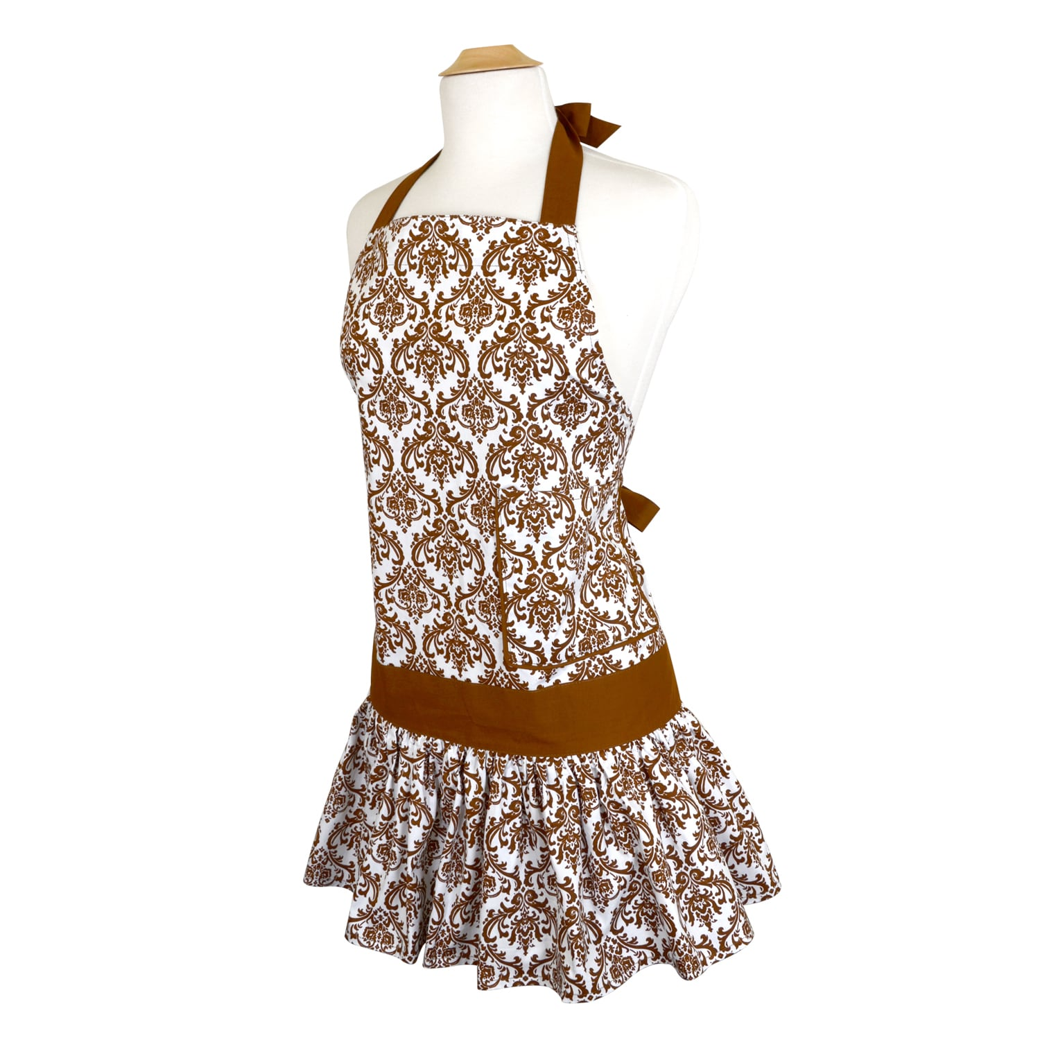 Flirty Aprons Brown Damask Women's Sadie Flirty Apron (Br...