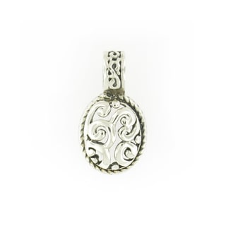 Handmade Small Sterling Silver Scroll Work Oval Pendant (Thailand)