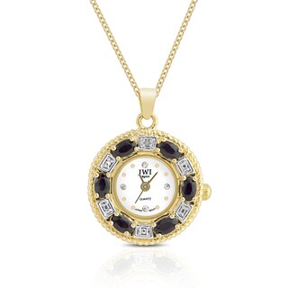 JWI Women's Gold Overlay Gemstone and Diamond Accent Stainless Steel Caseback Pendant Watch