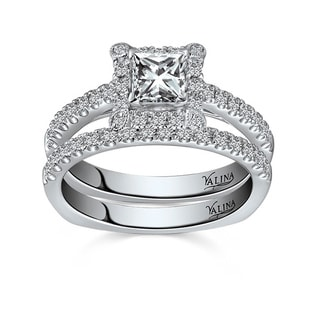 Valina 14k White Gold 4/5ct TDW Pave Designer Diamond Bridal Set