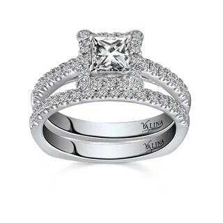 Valina 14k White Gold 4/5ct TDW Pave Designer Diamond Bridal Set