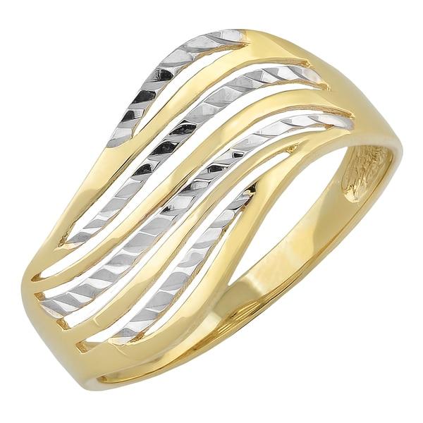 Wave Design Bands: Shop Fremada 10k Two-tone Gold Wave Design Ring