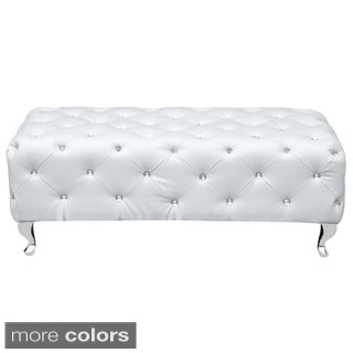 Faux Crystal Button Tufted Bench