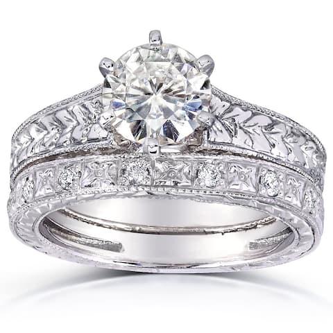 Annello by Kobelli 14k White Gold 1 1/4ct TGW 6-prong Moissanite and Diamond Textured Vintage Bridal Set