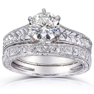 Annello by Kobelli 14k White Gold 1 1/4ct TGW 6-prong Moissanite (HI) and Diamond Textured Vintage Bridal Set