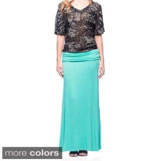 Women's Elastic-waist Maxi Skirt
