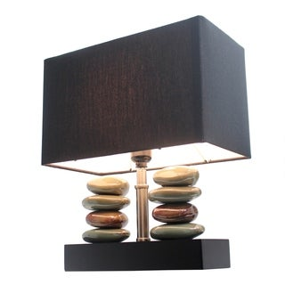 Elegant Designs Rectangular Dual Stacked Stone Ceramic Table Lamp and Black Shade