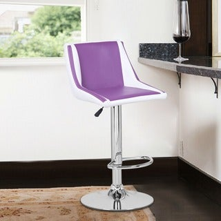 Adeco Purple/ White Faux Leather, Hydraulic Lift Adjustable Barstools (Set of 2)