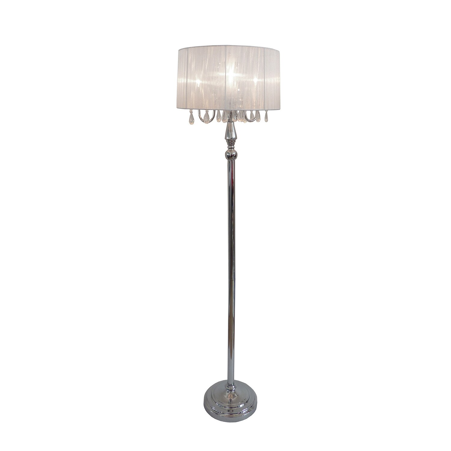 Elegant designs lf1002 wht sheer shade chrome floor lamp with picture 5 of 8 aloadofball Image collections