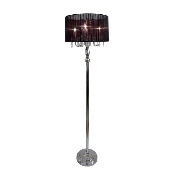 elegant designs trendy sheer shade floor lamp and hanging crystals. Black Bedroom Furniture Sets. Home Design Ideas