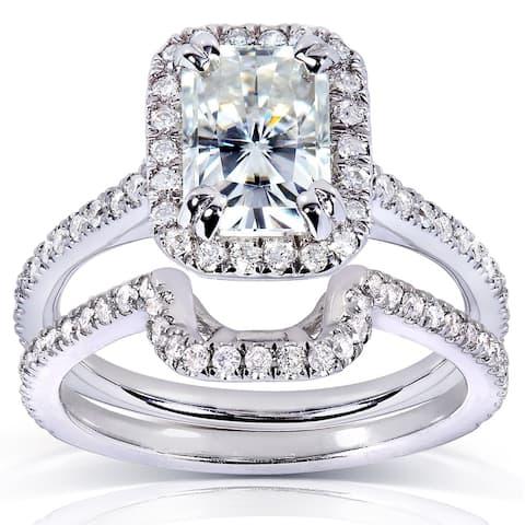 Annello by Kobelli 14k White Gold Radiant-cut Moissanite 1/2ct TDW Round-cut Diamond Bridal Set