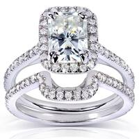 Annello by Kobelli 14k White Gold Radiant-cut Moissanite (HI) 1/2ct TDW Round-cut Diamond Bridal Set
