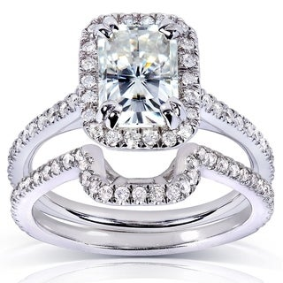 Annello by Kobelli 14k White Gold Radiant-cut Moissanite (HI) 1/2ct TDW Round-cut Diamond Bridal Set