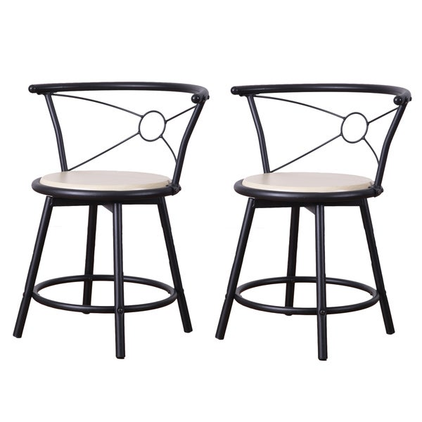 Adeco Beech Color Wood Swivel Bistro Chairs With Metal