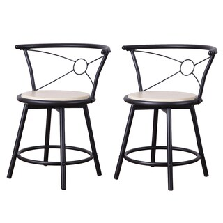 Adeco Beech Color Wood Swivel Bistro Chairs with Metal Frame (Set of 2)