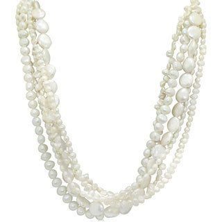 Gioelli Sterling Silver Multi Variety Pearl Strand Twist Necklace (11 mm)