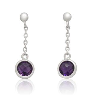 Gioelli Sterling Silver Amethyst Drop Earrings