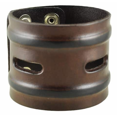 Nemesis Brown Wide Slit and Grooves Leather Snap-on