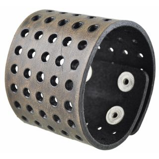 Nemesis Brushed Dark Brown Wide Perforated Leather Cuff Bracelet