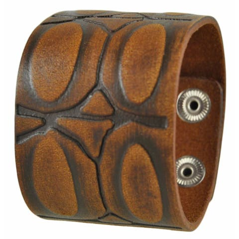 Nemesis Brushed Brown Turtle Shell Engraved Design Leather Bracelet Cuff Band