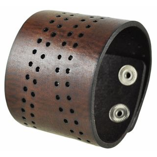 Nemesis Wide Brown Curved Perforated Leather Cuff Snap On Band