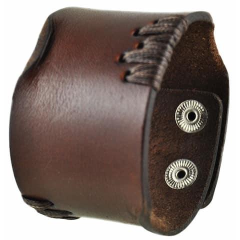 Nemesis Brown Side Stitch Leather Cuff Bracelet