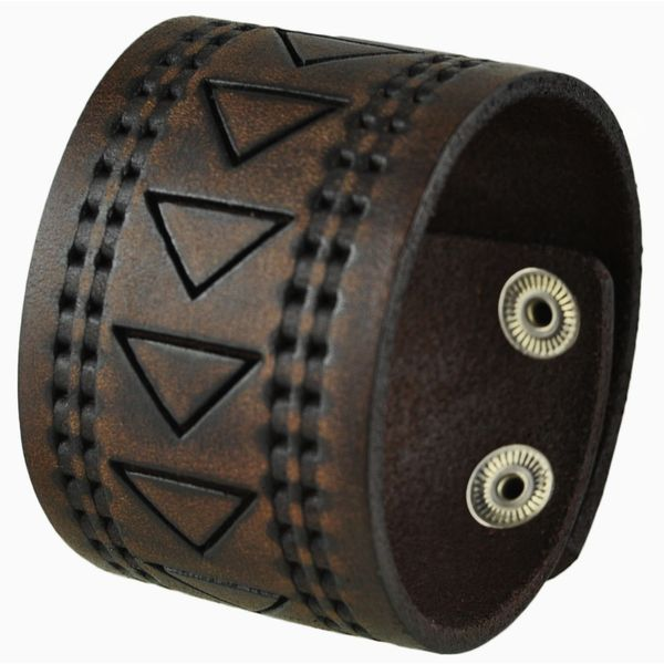 Nemesis Hole Punched and Triangle Embossed Brown Leather Snap On Bracelet