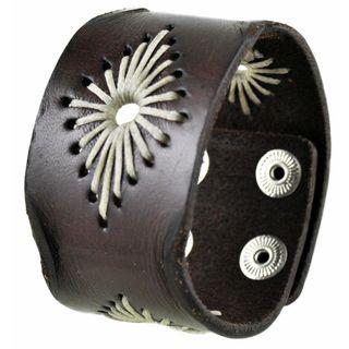 Nemesis Brown Diamond-stitched Leather Cuff Bracelet