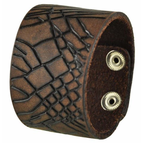 Nemesis Brown Cracked Leather Snap-on Cuff Bracelet