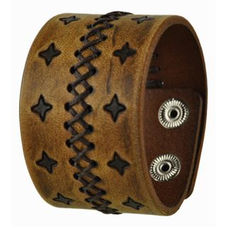 Nemesis Brown Stars and Cross Stitched Leather Cuff Bracelet