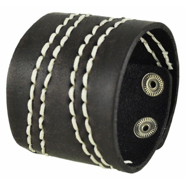 Nemesis Wide Dark Brown Leather Cuff Bracelet with White Curve Stitch