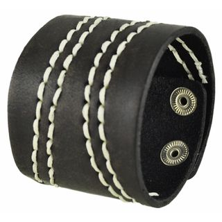 Nemesis Wide Dark Brown Leather Cuff Bracelet with White Curve Stitch