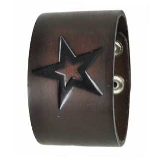 Nemesis Watch Brown Triple Star Embossed Leather Cuff Snap-on Bracelet