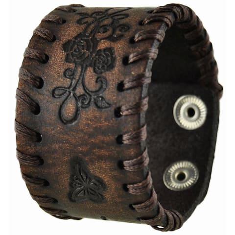 Nemesis Dark Brown Side Weaved Flower Rose Embossed Leather Cuff Bracelet