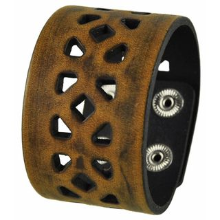 Nemesis Brown Square Cube Cut Leather Snap-on Cuff Bracelet