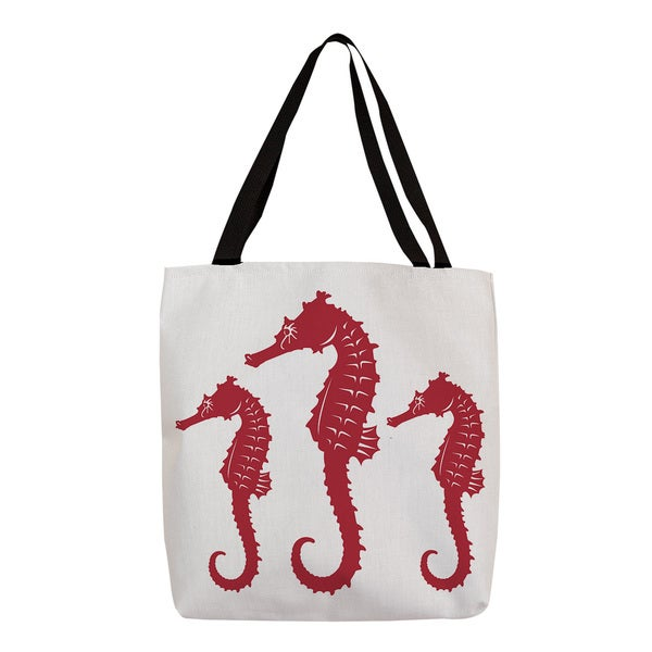 Nautical Nonsense' Red and White Seahorses Tote