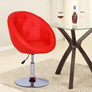 Adeco Red Adjustable 360-degree Swivel Bar Stool