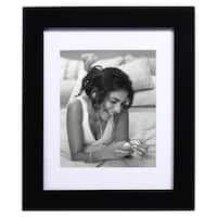 Adeco Black Wood Hanging Picture Frame with Mat, 8x10""
