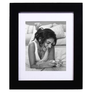 """Adeco Black Wood Hanging Picture Frame with Mat, 8x10"""""""
