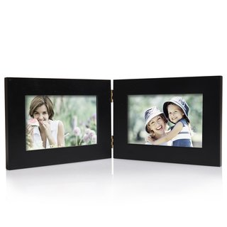 Adeco Black Wood Hinged 2-opening Table Top 4x6 Picture Frame