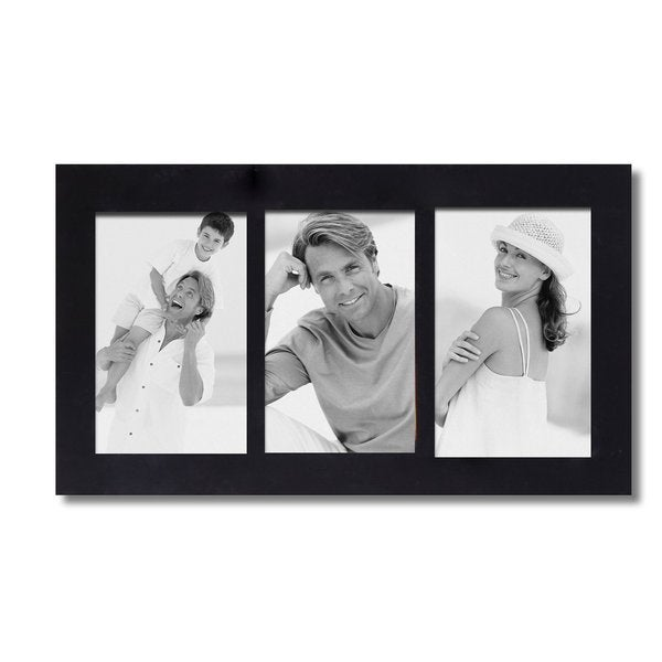 Adeco Black Wood Hanging 3 Opening 4x6 Picture Frame