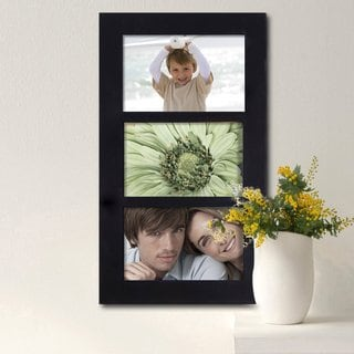 Adeco Black Wood Hanging 3-opening 4x6 Picture Frame