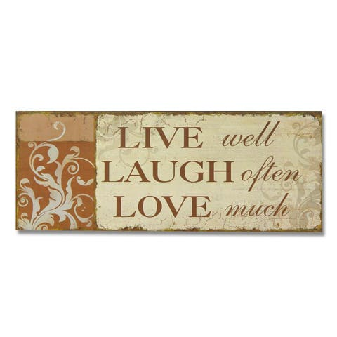 Adeco 'Live, Laugh Love' Decorative Wood Wall Sign Plaque