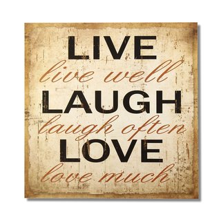 "Adeco Decorative Wood Wall Sign Plaque ""Live Laugh Love"""