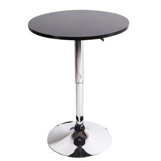 Adeco Black Wood Bar Table, Adjustable, Chromed Pedestal Base