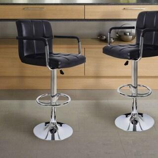 Shop Adeco Faux Leather Adjustable Chrome Base Barstool