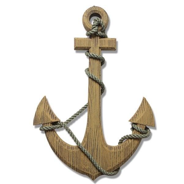 Ornamental Nautical Ship Anchor 24 Inch Wood Wall Decoration