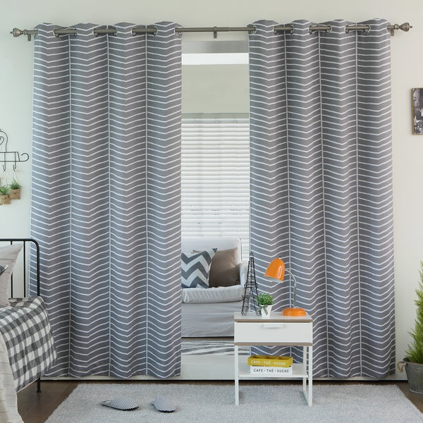 Aurora Home Sketched Chevron Room Darkening Grommet Top Curtain Panel Pair. Aurora Home Wave Room Darkening Grommet Top 84 inch Curtain Panel